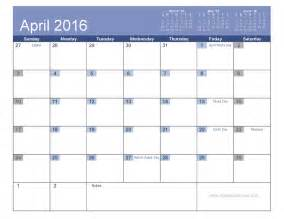 Calendar Template With Holidays april 2016 calendar with holidays printable 7 templates