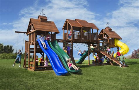 big backyard play equipment adventure mountain big swing set with 4 slides play decks