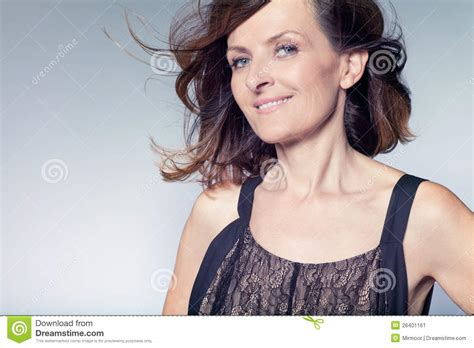 hcurly hairstyles middke aged women happy middle aged woman with curly hair stock image