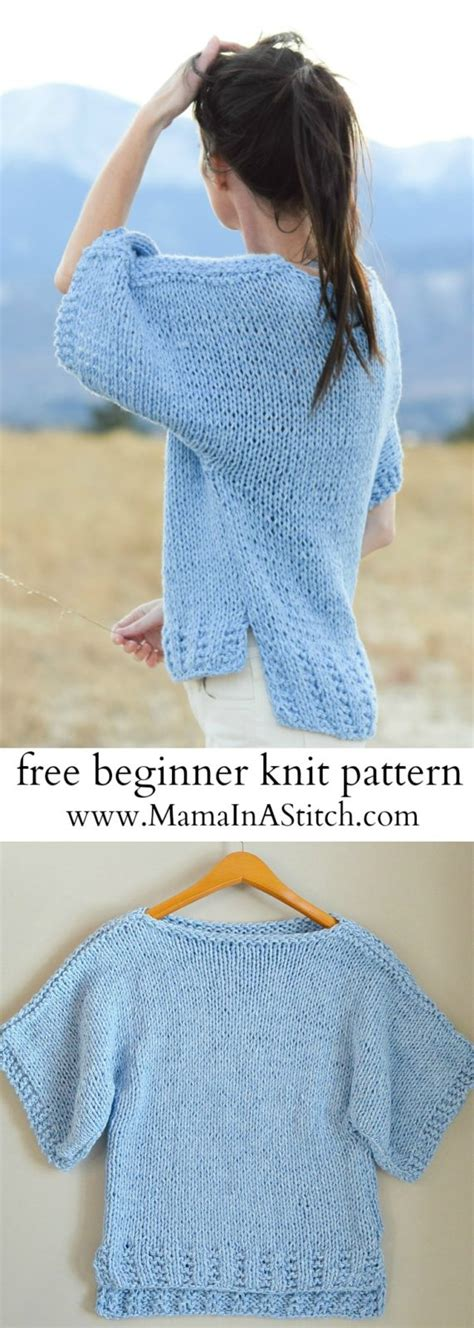 how to knit easy easy knit boxy t shirt quot quot pattern in a stitch