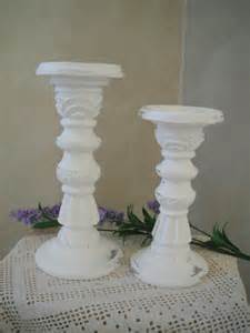 shabby chic white candle sticks pillar candle holders white