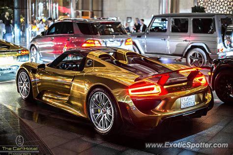 gold porsche 918 porsche 918 spyder spotted in dubai united emirates
