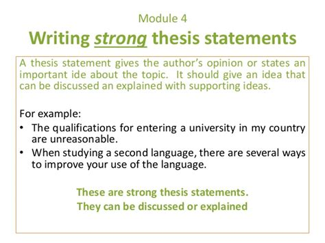 thesis statements about education e3 m4 4 strong thesis statements