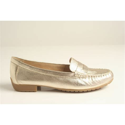 gold metallic flat shoes caprice caprice gold metallic leather loafer with leather