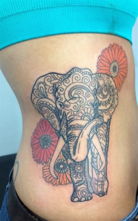 elephant tattoo with flowers paisley elephant tattoos get a