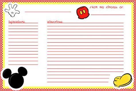 cute printable recipe cards free cute free printable mickey recipe cards disney crafts