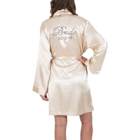 Rhinestone Satin Fancy Bride Robe with Date   Pockets