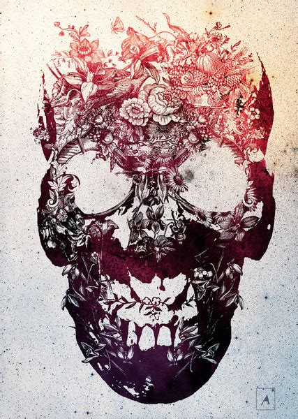 wallpaper skull flower skulls by ali gulec collage and graphic works combine