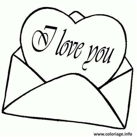 Coloriage Lettre Coeur I Love You Dessin