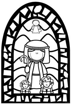 Christmas Stained Glass Window Nativity Templates ~ Bible