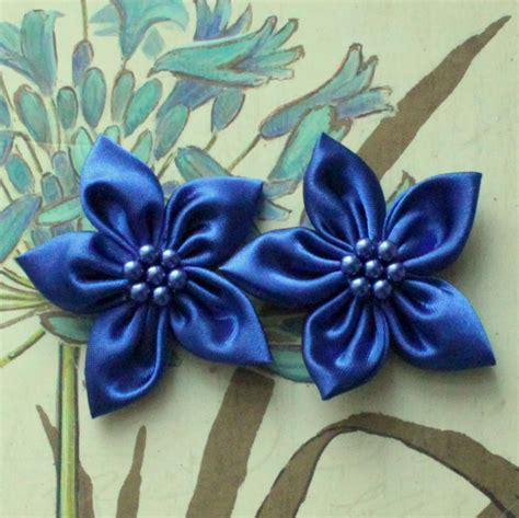 Handmade Material Flowers - 2 pcs 2 inches handmade satin fabric flowers with pearls