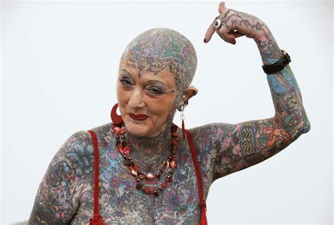 full body tattoo old woman world s most tattooed female senior citizen isobel varley dies