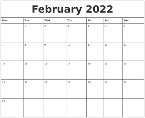 printable monthly calendar starting monday february 2022 printable monthly calendar