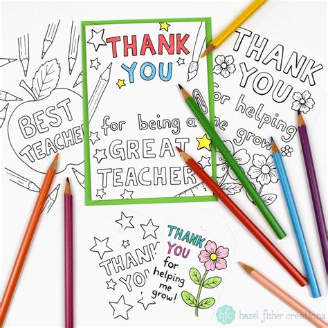 printable thank you cards teacher hazel fisher creations gift ideas for teachers and