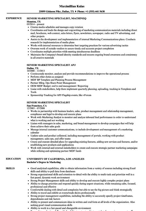 marketing specialist resume resume ideas