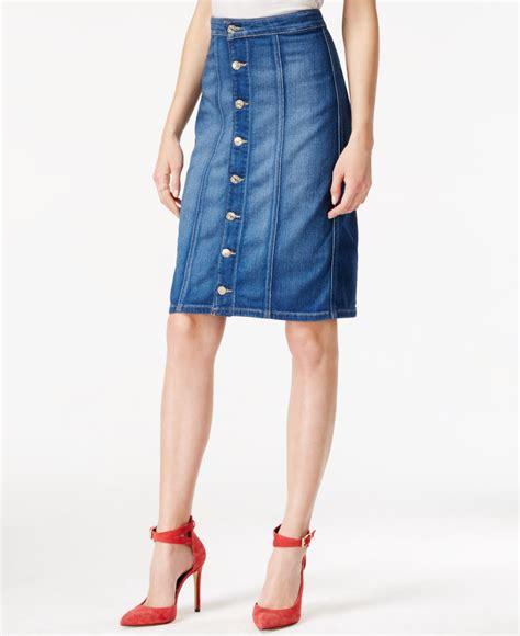 guess button front denim skirt in blue lyst