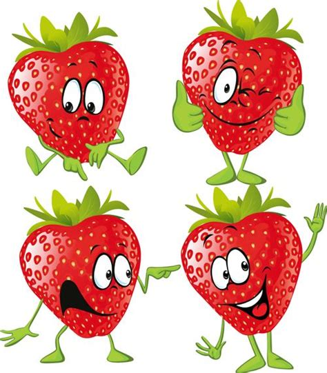 Sticker Stroberi strawberry characters vector and picture