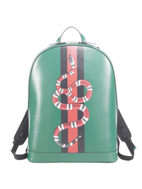 gucci snake printed leather backpack in green for lyst