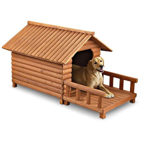 hunting dog houses log cabin dog house large 139618 kennels beds at sportsman s guide