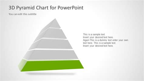3d pyramid template for powerpoint with 5 segments