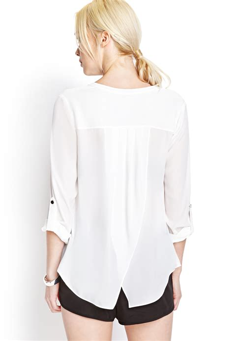 Blouse Tulip lyst forever 21 georgette tulip back blouse in white