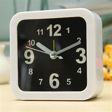bedroom alarm clock white mini travel alarm clocks quartz alarm beep bedside