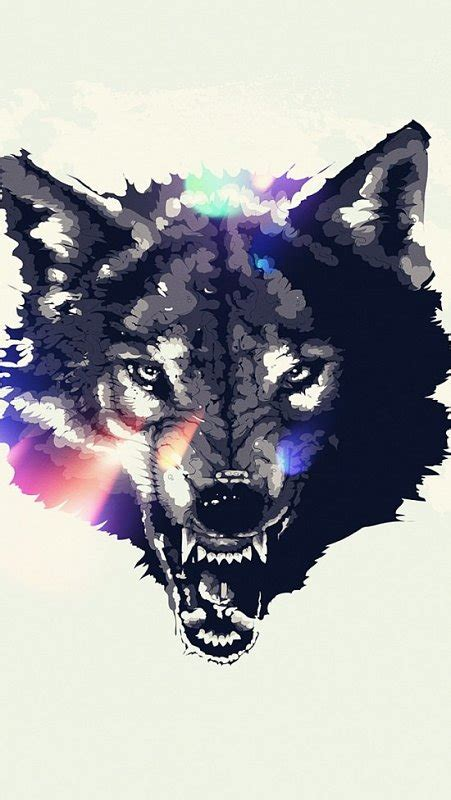 snarling wolf tattoo designs snarling wolf with multiolor shine design