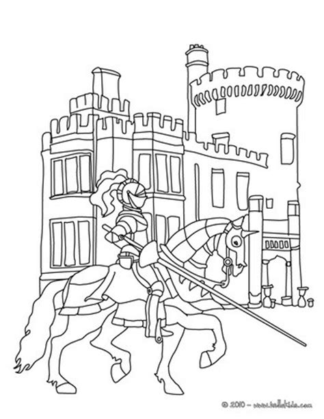 coloring pictures of knights and castles knight in front of a castle coloring pages hellokids com