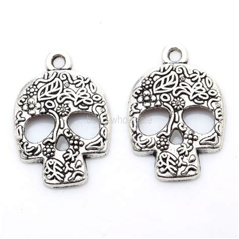 wholesale charms for jewelry wholesale 20pcs tibetan silver skull charms pendants for