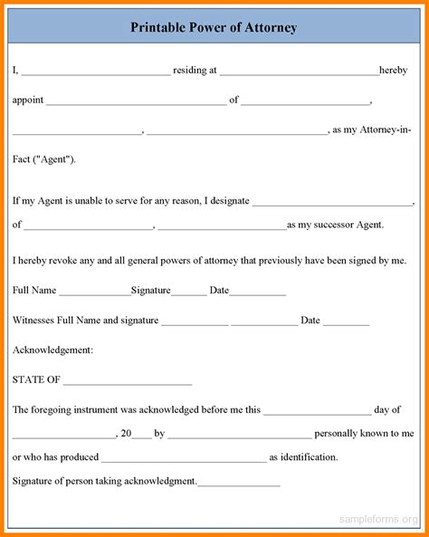 Resume Format Latest Pdf by 10 Free Power Of Attorney Form To Print Out Ledger Paper