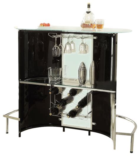 Coaster Fine Furniture Modern Black White Frosted Glass Wine Bar Furniture Modern