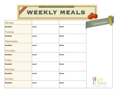 printable planner chart 6 best images of printable daily food planner daily meal