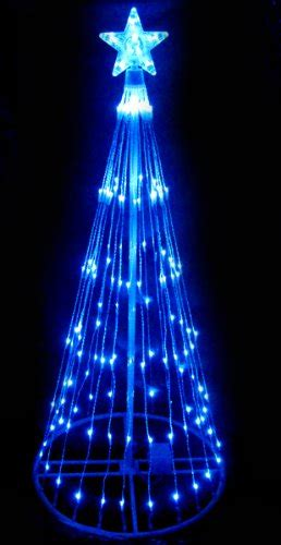 4 blue led light show cone tree lighted yard