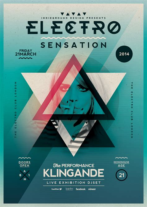 flyer design on behance electro poster template vol 7 on behance