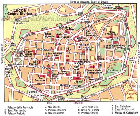 map of and attractions map of lucca attractions planetware italy