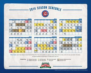 cubs home schedule 2014 printable schedule