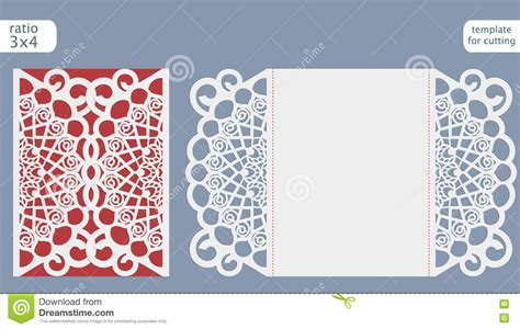 card die cut template laser cut wedding invitation card template vector die cut