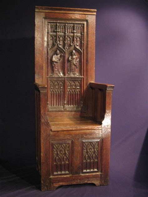 A large and rare 15th century gothic carved oak throne chair sales archive