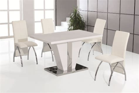 costilla white high gloss dining table with 4 white faux