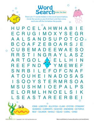printable under the sea word search word search for kids under the sea worksheet