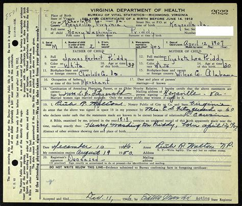 Birth Records Wa Henry Washington Priddy Virginia State Certificate Of