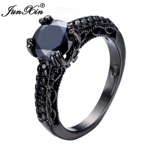 Kalung Black Gold Ring Necklace aliexpress buy junxin fashion jewelry black zircon ring black gold filled rings for