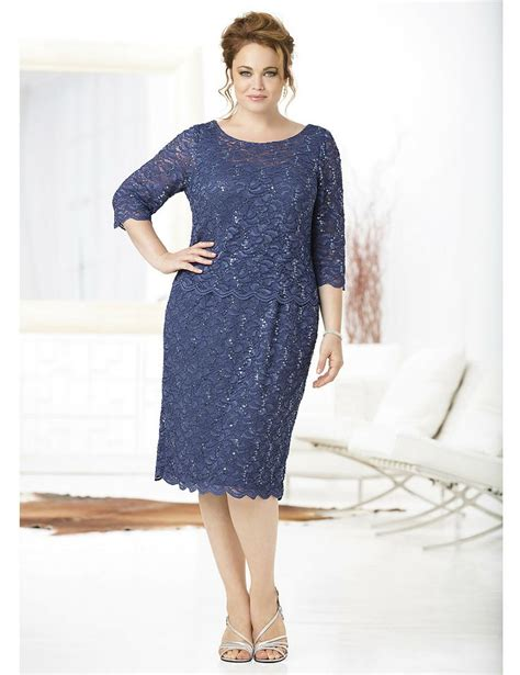 Dress Brukat Navy A this beautiful lace layered dress by ulla popken is for a wedding guest or