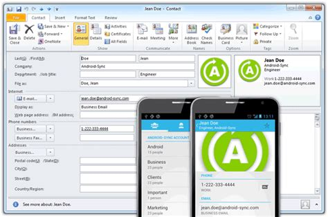 sync outlook contacts with android features android sync sync android with outlook via usb