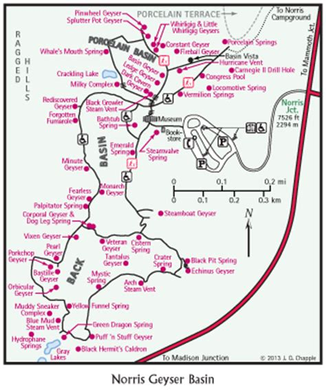yellowstone geysers map yt norris geyser basin map yellowstone treasures