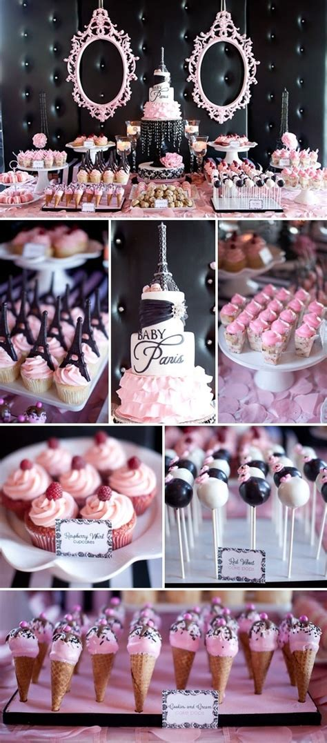 pink and black buffet themed dessert table buffets bars cakes and baby shower