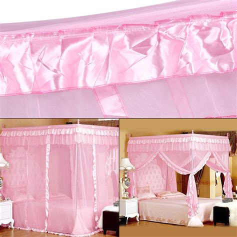 pink canopy bed curtains bedroom 4 corner post mosquito net bed canopy curtain pink