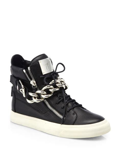 giuseppe sneakers for giuseppe zanotti silver chain hightop sneakers in black