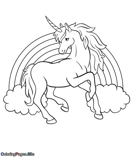 unicorn with rainbow coloring page rainbow unicorn coloring page