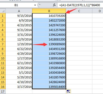 format html unix how to convert between date and unix timest in excel